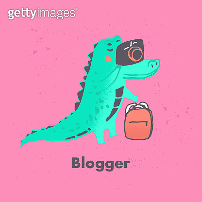 Vector semi flat illustration of green crocodile character who make a photo in cute freehand style. Alligator  blogging isolated on blue background. Bright character of wild friendly animal. Blog.