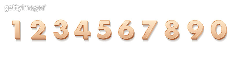 Birthday numbers 3D vector illustrations set. Realistic digits from one to zero. Festive sign cliparts pack. Creative symbols isolated on white background. Banner design elements collection.