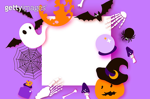 Happy Halloween party. Mystical night with Pumpkin, bat, bones, ghost. Trick or treat. Square frame. Space for text. Paper craft art