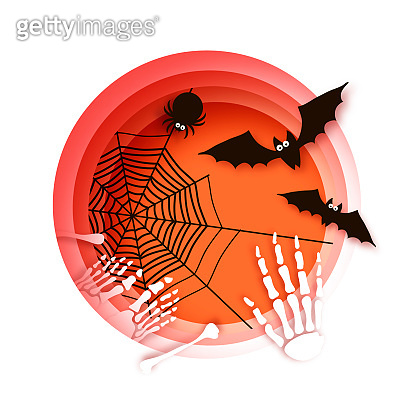Spooky Halloween bats and spider. Happy Halloween. Skeleton. Bones. Mystical night. Circle frame. Space for text. Paper craft art.