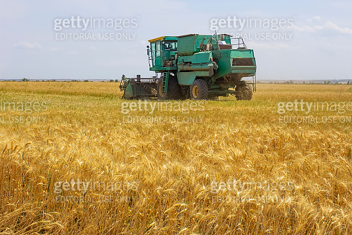The old combine at field
