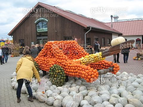 Halloween vegetable installation at modern outdoor park