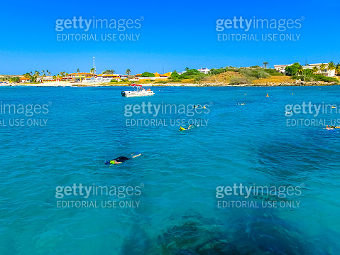 Tourists snorkeling along the coastline and enjoy the tropical island of Aruba