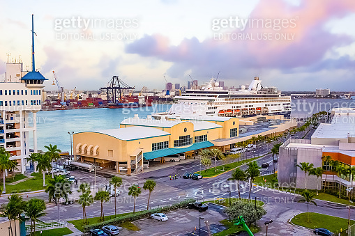 The view from a cruise ship of Port Everglades