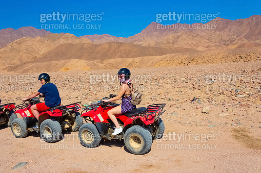 The people at quad tour in the desert in Egypt