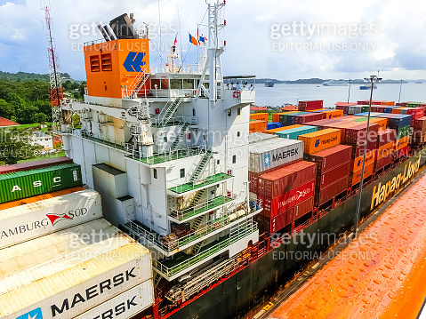 A cargo ship entering the Miraflores Locks in the Panama Canal