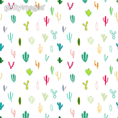Cactus seamless pattern background. Vector illustration for fabric and gift wrap paper design.