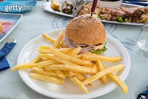 Big burger with french fries boundary