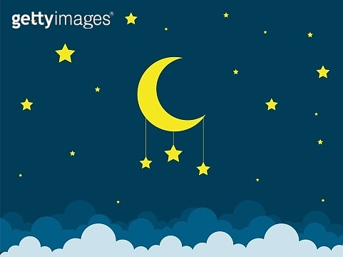 Night scene with moon and stars. Nightly sky with large moon. Good night sky card.