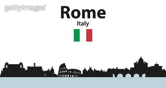 Vector illustration of Rome cityscape silhouette