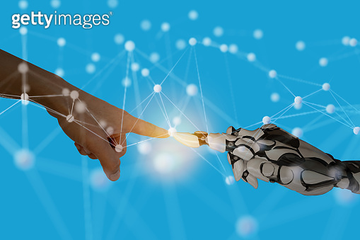 human work with robots smart artificial intelligence concept with machine, deep learning, neural network technology, the artificial intelligence network in smart things to disrupt