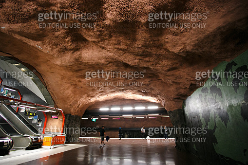 Stockholm subway, Sweden, Interior of Radhuset station