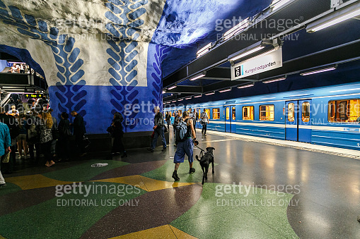 Stockholm underground metro station T-Centralen - one of the most beautiful metro station, opened in 1957, design made in 1975. Blue line, central station
