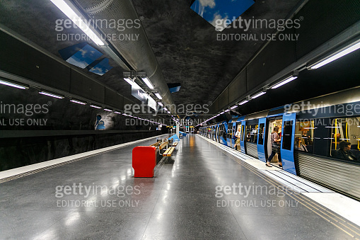 Stockholm subway, Sweden, Interior of vreten