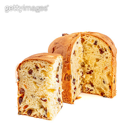 Panettone or Fruit Christmas cake isolated on white background. Christmas stollen with decorations top view