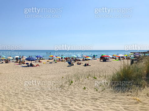 People relaxing on the beach
