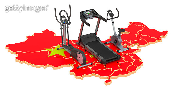 Sport clubs in China. Fitness, exercise equipments on Chinese map. 3D rendering isolated on white background