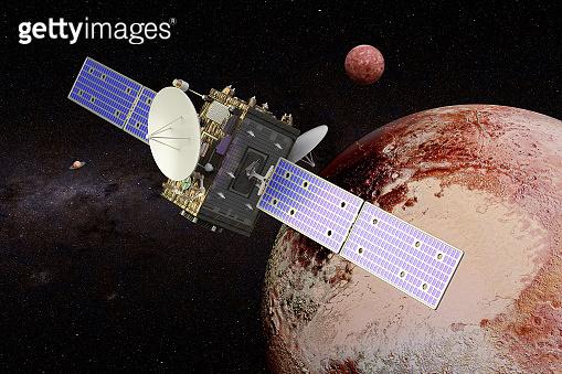 Space probe orbiting Pluto, 3D rendering