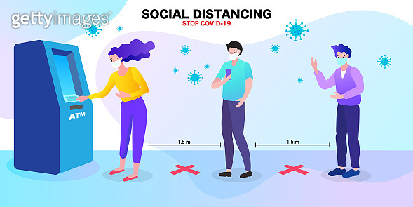People men and women wearing medical face mask live at atm machine. Social distance in New normal Concept. Flat Vector illustration.