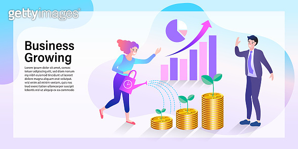Businessman using mobile app for online banking and business growing. Mobile Currency Exchange Service. Flat Cartoon Vector Illustration
