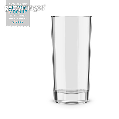 Clear empty drinking glass vector mockup. Vector illustration.