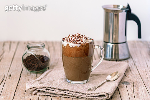 Iced coffee with whipped cream and chocolate chips