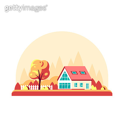 Autumn landscape with country house. Flat style vector.