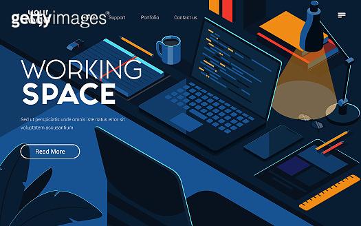 Flat Modern design Illustration of Working Space