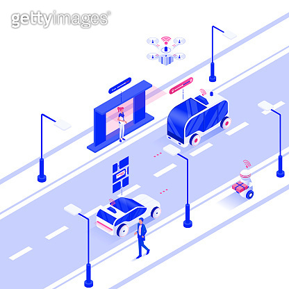 Flat color Modern Isometric Illustration design - Autonomous Vehicles