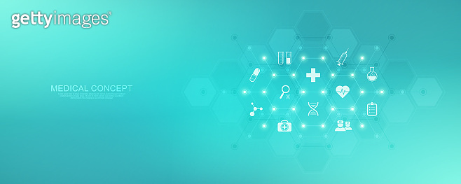 Abstract background of medicine with flat icons and symbols. Template design with concept and idea for healthcare technology, innovation medicine, health, science and research. Vector illustration.