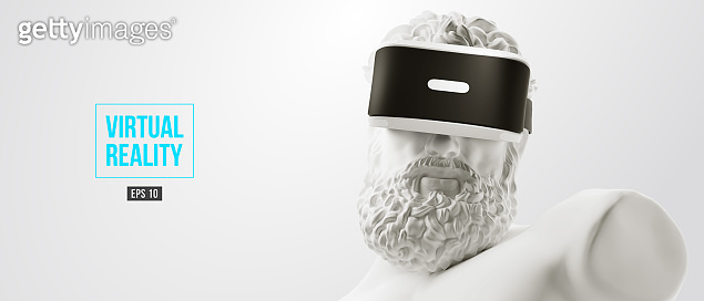 VR headset, future technology concept banner. 3d of the white statue of Hercules, man wearing virtual reality glasses on white background. VR games. Vector illustration. Thanks for watching