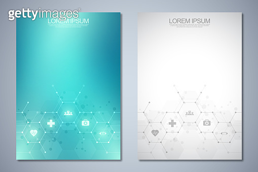 Template brochure or cover book, page layout, flyer design. Concept and idea for health care business, innovation medicine, pharmacy, technology. Medical background with flat icons and symbols.