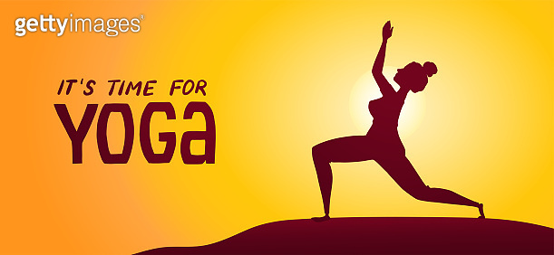 Young woman doing yoga at sunset or sunrise. Banner with time for yoga text.