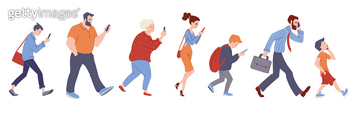 Diverse group of people with smartphones. Vector character illustration isolated on white