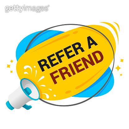 Refer a friends banner. Screaming megaphone template. Referral program.