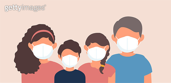 Family wearing protective medical face masks to prevent disease. Vector illustration