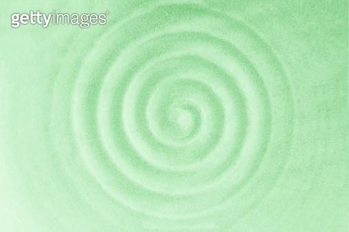 Trendy mint color. Ceramic pattern. Circular vibrations. Mint rippled waves
