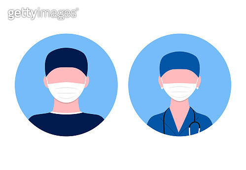 Medical avatars illustration of flat design. People icons collection: doctor and nurse in mask. Covid theme.