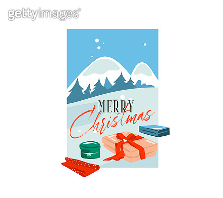 Hand drawn vector abstract flat Merry Christmas,and Happy New Year cartoon festive card with cute illustrations of big surprise present box outdoor on winter landscape isolated on white background