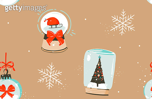 Hand drawn vector abstract fun stock flat Merry Christmas,and Happy New Year time cartoon festive seamless pattern with cute illustrations of Xmas snow globe and Santa isolated on color background
