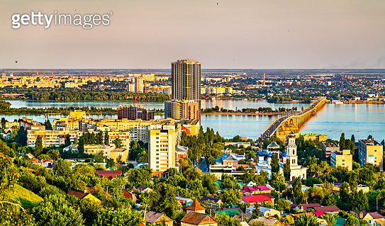 Saratov - Engels bridge across the Volga and the Cathedral in Saratov, Russia