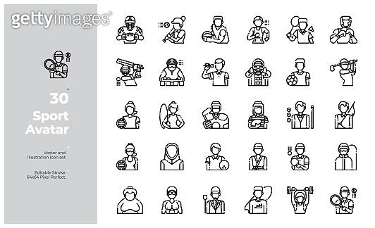 Vector Line Icons Set of Sport Avatar. Editable Stroke.