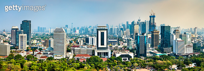 Aerial panorama of Jakarta, the capital of Indonesia