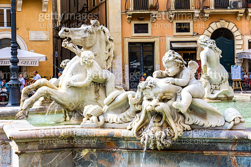 Fountain of Neptune at Piazza Navona in Rome, Italy