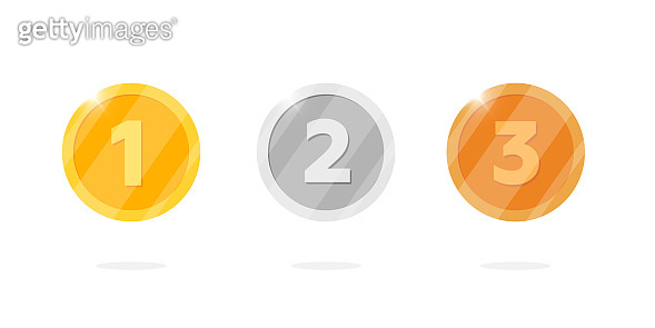 Gold silver bronze medal reward set with first second third place number. Video game or apps animation bonus achievement award. Winner trophy isolated flat vector illustration