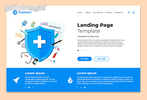 Medical insurance or health care concept landing page design template. Blue shield on patient protection policy with medicine pharmacy preparations. Vector healthcare website illustration