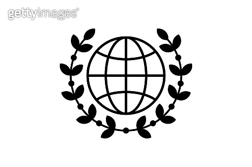 World globe with wreath linear style icon. Global peace award concept vector illustration