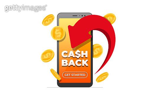 Cashback loyalty program concept. Arrow returned gold coins and cash back iscription on smartphone screen. Refund money service app. Mobile banking bonus transaction application illustration
