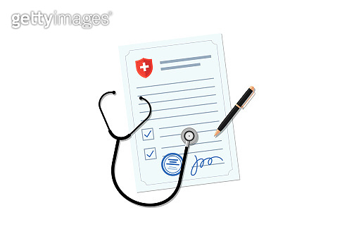 Medical blank document with stethoscope and pen. Doctor prescription form or health insurance. Healthcare concept vector illustration