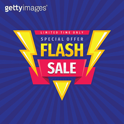 Flash sale - concept promotion banner template vector illustration. Discount special offer creative poster layout. Limited time only. Graphic design.
